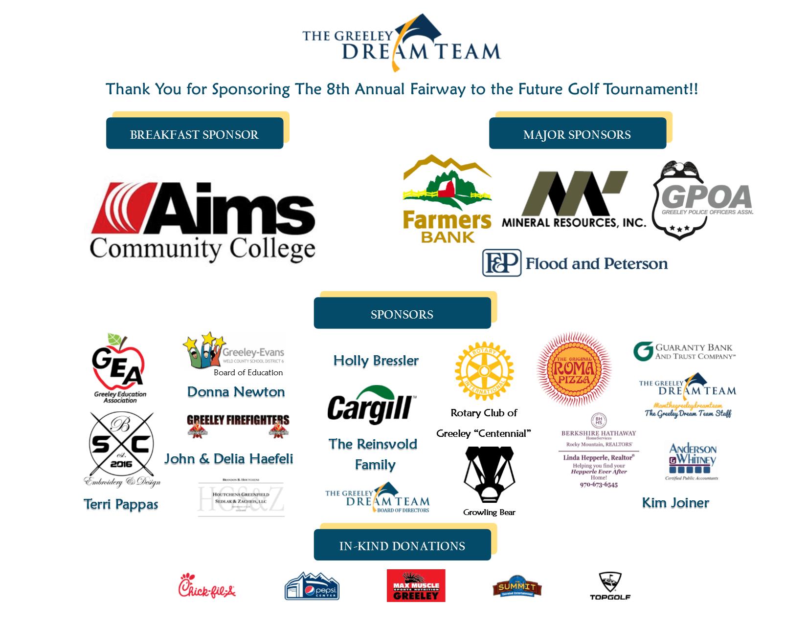 Thank You Fairway to the Future Golf Tournament Sponsors!